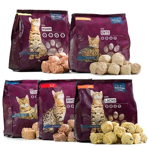 FeliFine BARF Komplettmenüs für Katzen - Testpakete mit 5 verschiedenen Menüs