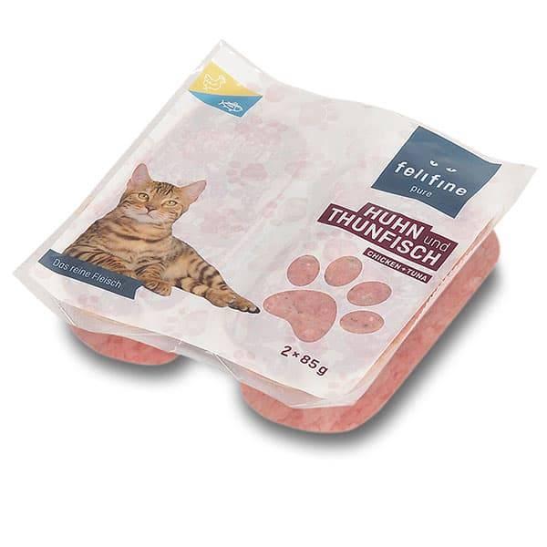 FeliFine pures Frostfleisch für Katzen - BARF Huhn und Thunfisch