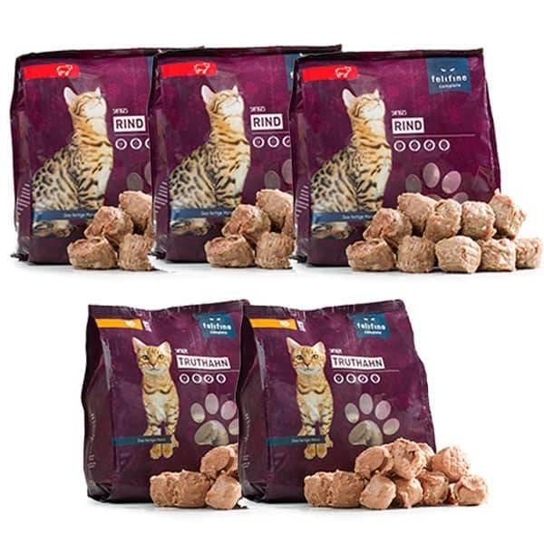 FeliFine BARF Komplettmenü für Katzen - Vorrats- und Testpaket mit Rind und Truthahn