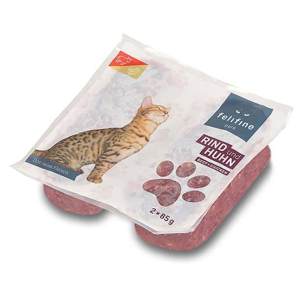 FeliFine pures Frostfleisch für Katzen - BARF Rind und Huhn